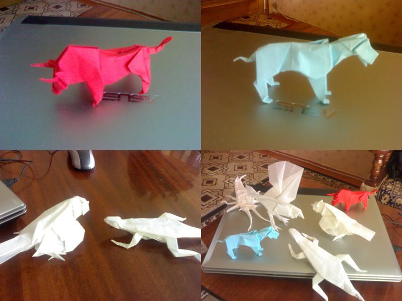 Оригами собака Схема из бумаги в видео Скачать оригами для детей.