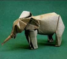 Вот, например, слон Брилла.  Схема в книге Brilliant origami.